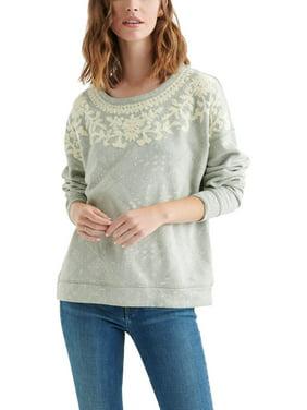 Lucky Brand Womens Chenille Tile rin Sweatshirt, Crew Green S