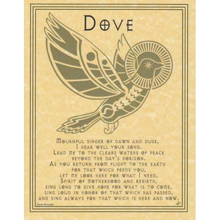 """Dove Spirit Animal Prayer Small Parchment Paper Poster Perfect Size For Framing and Gift Giving 8 1/2"""" x 11"""""""