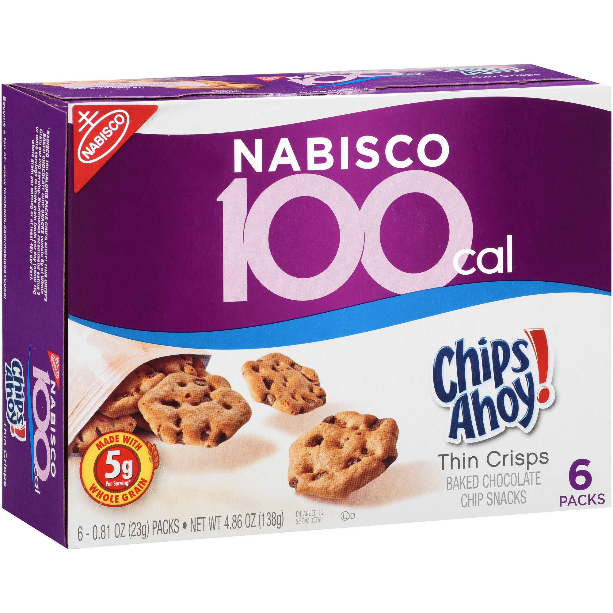 Nabisco 100 Calorie Chips Ahoy! Thin Crisps Baked Chocolate Chip Snacks, .81 oz, 6 count