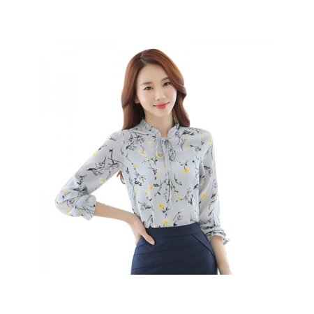 Big Savings/Clearance,Nicesee Women Long Sleeve Floral Chiffon Blouse Shirt Tops