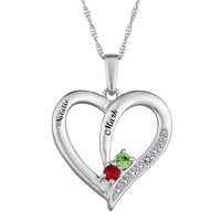 Personalized Sterling Silver Couple's Birthstone Heart Name Pendant