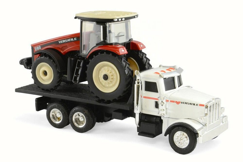 290 MFWD Tractor on Peterbilt 367 Dealership Truck, Red & White Tomy 16247 1 64 Scale... by Peterbilt