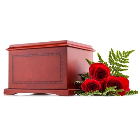 Wood Cremation Urn For Human Ashes   Funeral Adult Urn    With Border