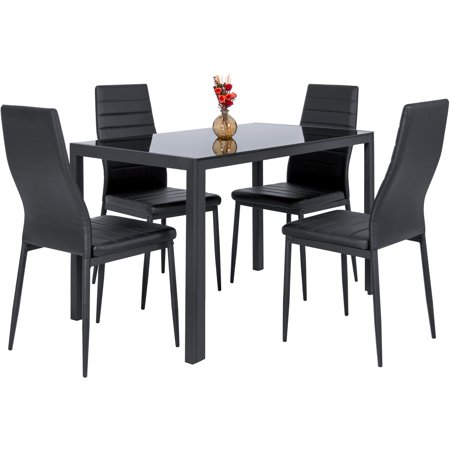 Best Choice Products 5-Piece Kitchen Dining Table Set w/ Glass Tabletop, 4 Faux Leather Metal Frame Chairs for Dining Room, Kitchen, Dinette - (Round Black Glass Dining Table 4 Chairs)