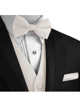 Italian Design, Men's Formal Tuxedo Vest, Bow-Tie & Hankie Set for Prom, Wedding, Cruise in Ivory