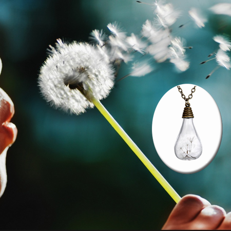 Wish In The Bottle Wish Maker Necklace With Dandelion (Sand Art Bottle Necklaces)