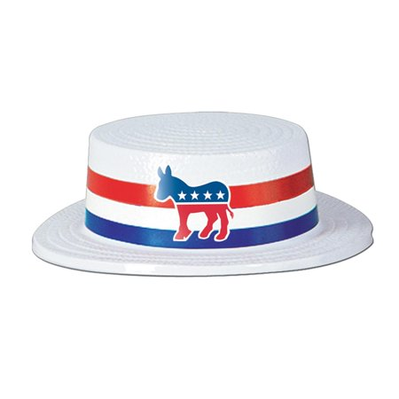 Club Pack of 24 Red, White and Blue Patriotic Skimmer with Democratic Donkey Band Party Hats