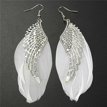 ZeAofa Women's Angel Wings Feather Dangle Earring Hook Chandelier Drop Long Earrings](Angel Wing Earrings)