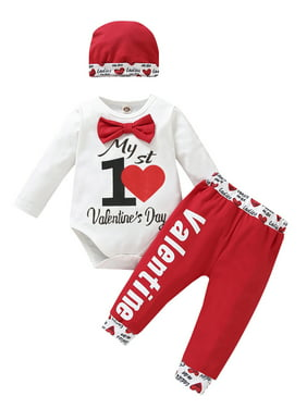 Loalirando Newborn Baby Boys Valentines Day Outfits My 1st Valentines Day Romper Bodysuit Heart Pants Hat 3Pcs Clothes Set