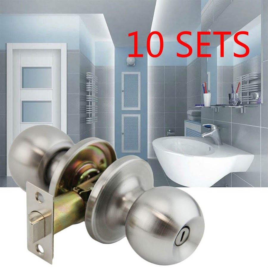 10 pcs Stainless Steel Sliver 201 Satin Nickel Brushed Round Ball Door Knob Lock Set for Home Security