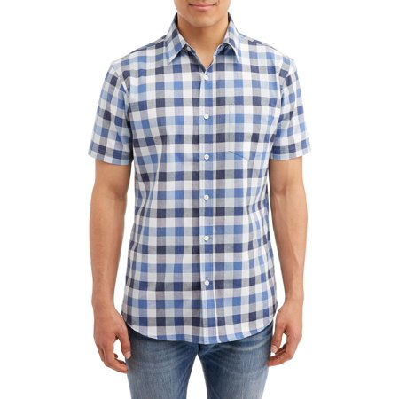 Lee Men's Plaid Short Sleeve Casual Stretch Button Down Shirt, Available Up to Size -