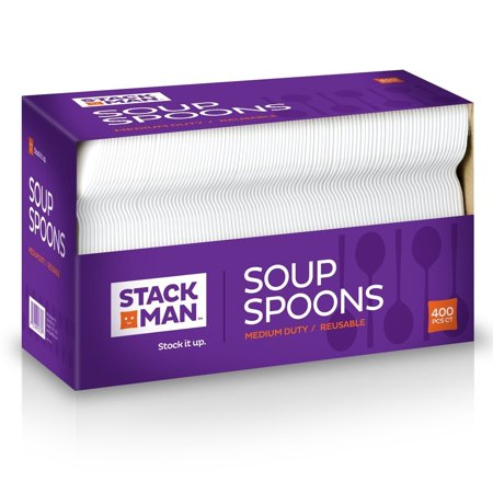 Stack Man Medium Weight Plastic Soup Spoon, White, 400 per (400 Stack)