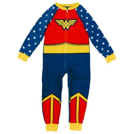 DC Comics Girls Wonder Woman Blanket Sleeper Wonderwoman Union Suit Pajamas XS (Wonder Woman Onsie)