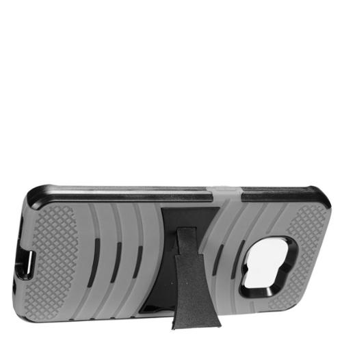 Insten Dual Layer Rubber Hard Case with stand For Samsung Galaxy S7 Edge - Gray/Black