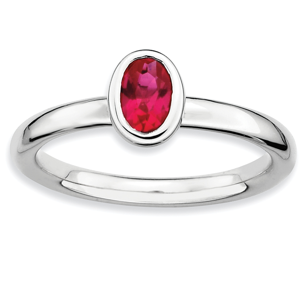 925 Sterling Silver Oval Created Red Ruby Band Ring Size 7.00 Stone Stackable Gemstone Birthstone July Fine Jewelry Gifts For Women For Her - image 4 de 4