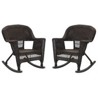 Pemberly Row Rocker Wicker Chair in Espresso (Set of 2)