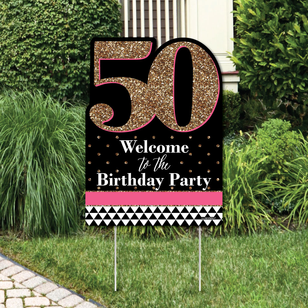 Chic 50th Birthday - Pink, Black and Gold - Party Decorations - Birthday Party Welcome Yard Sign
