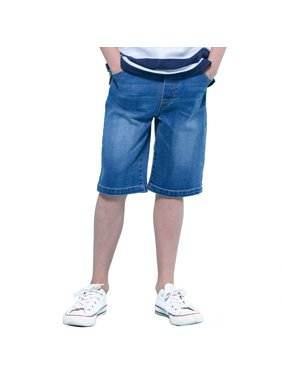 Leo&Lily Boys' Kids' Elastic Waist Regular Fit Stretch Denim Shorts Husky Jeans (Dark Blue, 5)