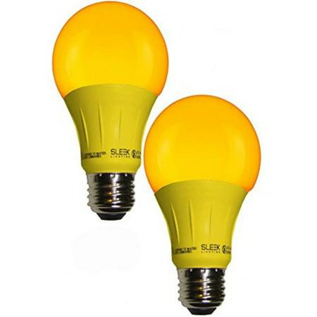 - Sleeklighting LED A19 Yellow Light Bulb, 120 Volt, 3 Watt Medium Base, UL-Listed LED bug light Bulb, Pack of 2-(lasts more than 20,000 hours)