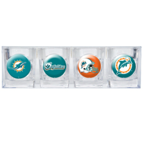 Great American Products Miami Dolphins Shot Glass Set 4pc Collectors Shot Glass Set