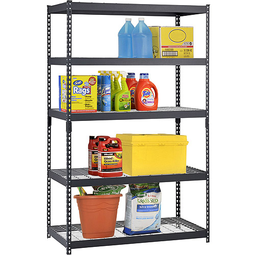 "Muscle Rack 48""W x 24""D x 78""H Five-Shelf Heavy-Duty Steel Shelving Unit, Black"
