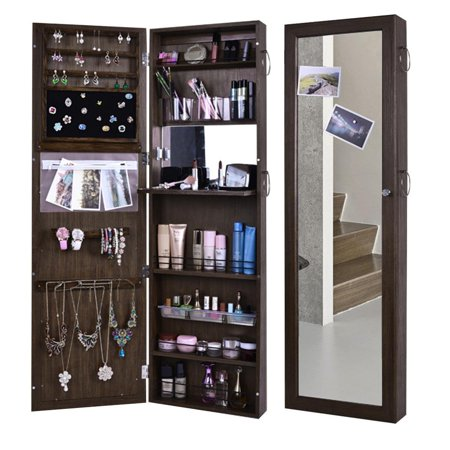 Stylish Mirrored Hanging Over The Door Jewelry Armoire