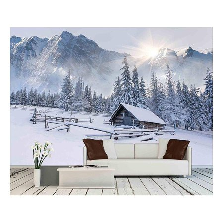 wall26 - Old Farm in The Mountains. Foggy Winter Morning. - Removable Wall Mural | Self-Adhesive Large Wallpaper - 66x96 inches