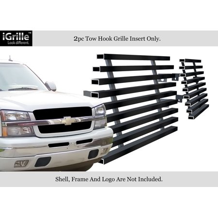 Chevy Silverado Tow Hook - For 2003-2006 Chevy Silverado 1500/2500 Stainless Black Tow Hook Billet Grille #C85303J
