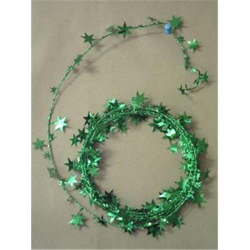 Party Deco 04506 18 ft.  Green Star Wire Garland - Pack of 12
