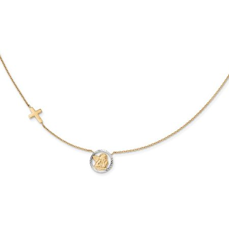 Roy Rose Jewelry 14k Yellow Gold with Rhodium-plated Diamond-cut Angel & Cross Necklace ~ length: 17 inches