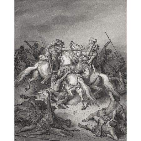 Engraving From The The Dore Bible Illustrating 2 Samuel Xxi 16 And 17 Abishai Saves The Life Of David By Gustave Dore 1832-1883 French Artist And Illustrator Canvas Art - Ken Welsh  Design Pics (26