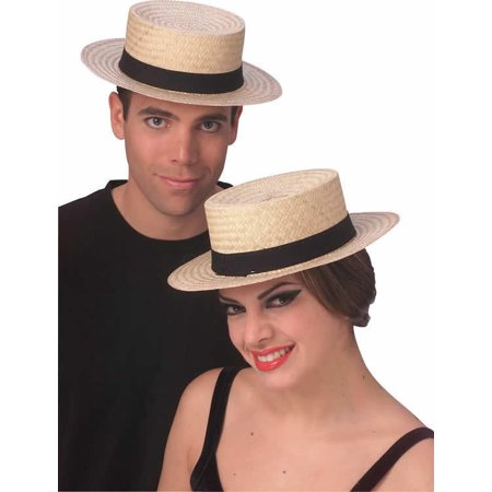 Straw Sailor Hat Skimmer Boater Amish Costume Accessory Hat Medium - Boater Hats