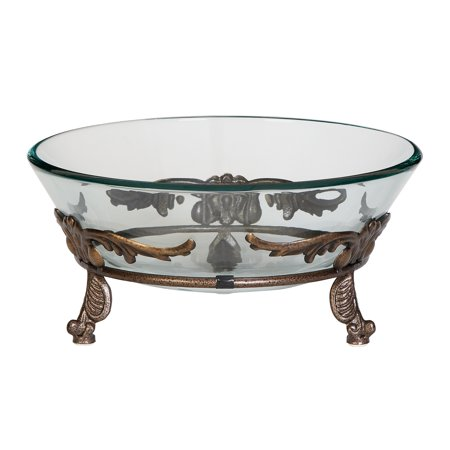 - Decmode Traditional 7 X 15 Inch Winged Scroll Metal And Glass Bowl Server, Copper Brown