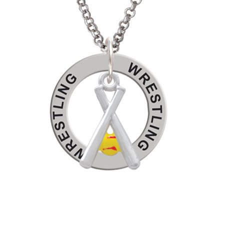 Pair of Crossed Bats with Enamel Softball Wrestling Affirmation Ring Necklace
