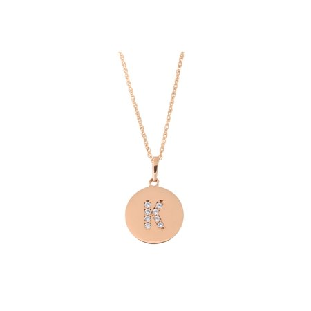 14k Rose Gold Cubic Zirconia Initial Disc Pendant Necklace, K, 15