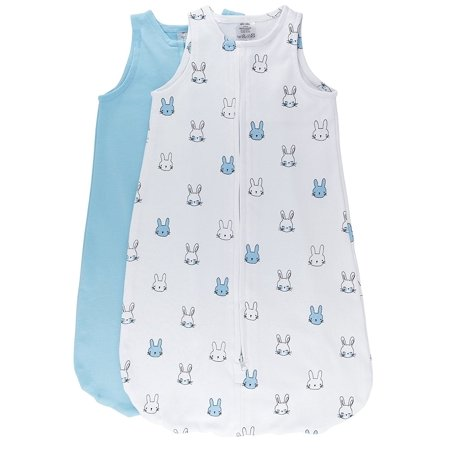 100% Cotton Wearable Blanket Sleep Bag 2 Pack Light Blue Bunnies and Solid Baby Blue Medium 3-6 Months 2 Pack Baby Bedding