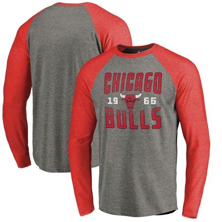 198ba6ab2 Chicago Bulls Fanatics Branded Antique Stack Long Sleeve Tri-Blend Raglan  T-Shirt - Ash