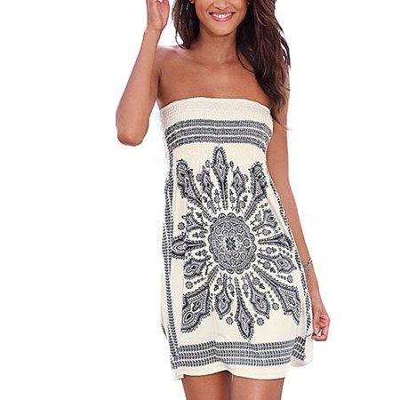 bb25afdd8c Womens Strapless Bandeau Boob Tube Summer Mini Dress Loose Tops Beach  Bathrobe - Walmart.com