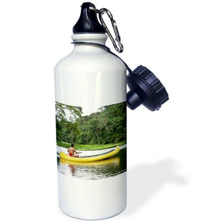 3dRose Goa, Panama, Wounan Indian canoeing, Charges river - SA15 PMA0050 - Piper Mackay, Sports Water Bottle, 21oz