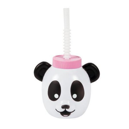 In 13706118 Panda Party Molded Cups With Lids   Straws 8 Piece S