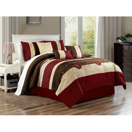 7-Pc Florian Flower Blossom Applique Embroidery Pleated Stripe Comforter Set Burgundy Brown Beige Queen