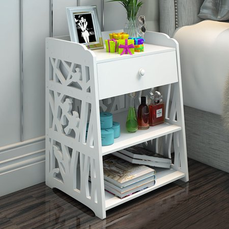 Carved Hollow Design Bedside Table Shelf Locker Bookcase Cosmetic Waterproof Storage W /drawer (16''x12''x20'')