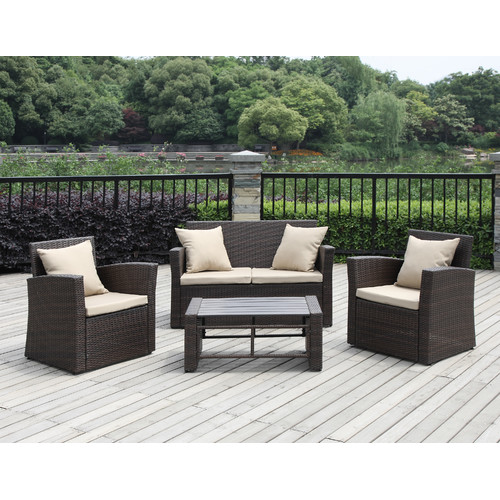 Handy Living La Jolla 4 Piece Sofa Set with Cushions