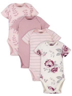 Modern Moments by Gerber Baby Girl Onesies Bodysuits Set, 4-Pack