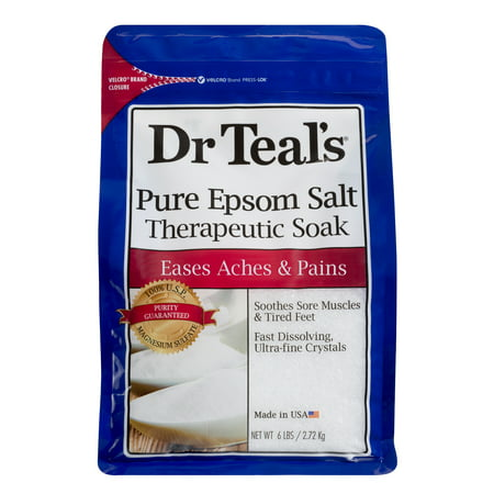 Dr Teal's Pure Epsom Salt Therapeutic Soak, 6 lb (Best Epsom Salt Detox Bath)