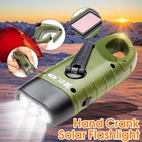 Mini Solar Powered Hand Crank Flashlight Rechargeable Emergency LED Flashlight Cranking Light With Clip By Stalwart ( For Emergency Hiking Camping and Survival Gear )