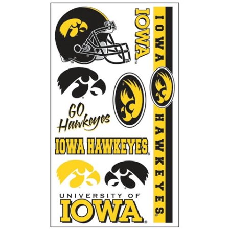 Iowa Hawkeyes Temporary Tattoo Face Decals 10 Pack (Skeleton Face Tatoo)