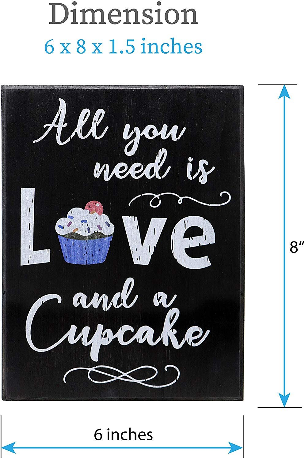 Jennygems Wood Box Quote Sign All You Need Is Love And A Cupcake Bakery Signs Cupcake Lovers Kitchen Decor Black 6 X 1 5 X 8 In Walmart Com Walmart Com