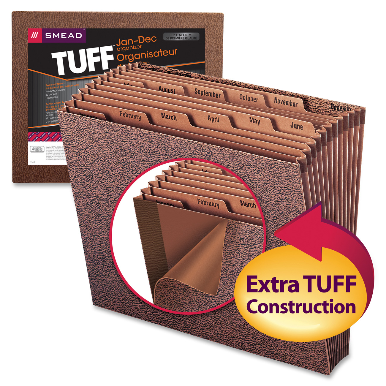 Smead TUFF® Expanding File, Monthly (Jan.-Dec.) 12 Pockets, Letter Size, Redrope-Printed Stock (70488)