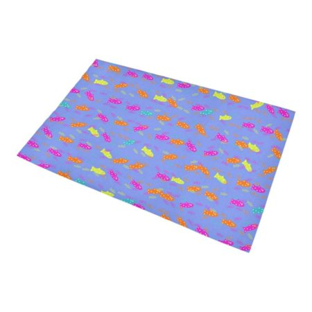 RYLABLUE cute fish pattern Non-Slip Bath Rug Bath Mat Rug Doormat 30x18 inches - image 1 of 3